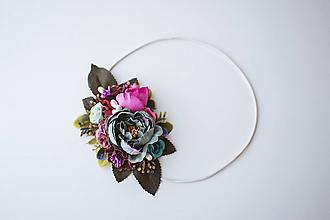 Ozdoby do vlasov - Elastická čelenka s kvetinami - VÝPREDAJ - 10639237_