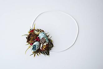 Ozdoby do vlasov - Elastická čelenka s kvetinami - VÝPREDAJ - 10639260_