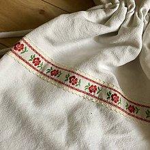 Úžitkový textil - Ľanové vrecko na chlieb s ľudovým motívom (Červené kvety) - 10640483_