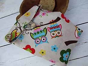 Úžitkový textil - desiatové vrecko-sova - 10640122_