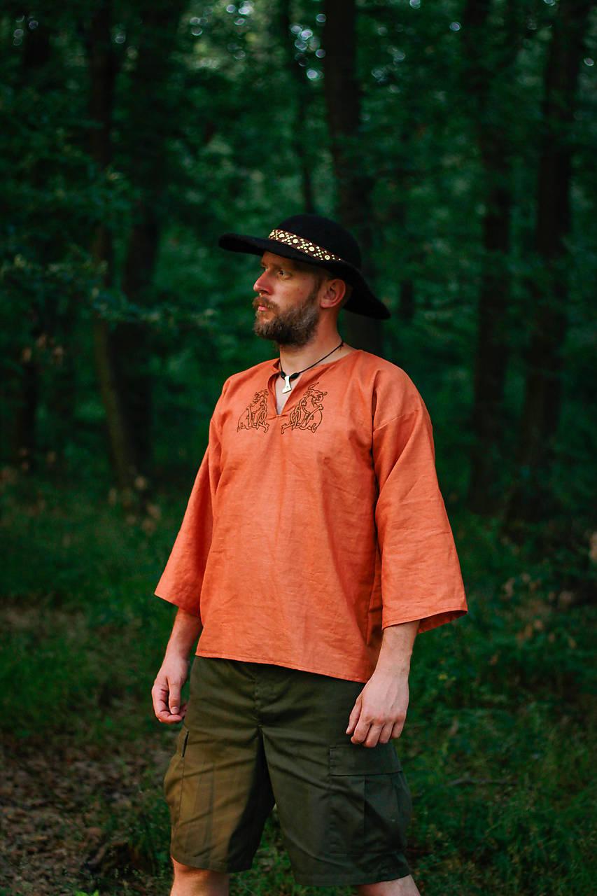 Košele - Ľanová košeľa oranžová - 10639927_