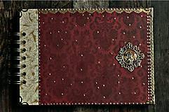Papiernictvo - Svadobný album/ Kniha hostí/Vínová červená + zlatá - 10640054_