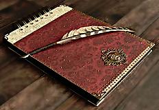 Papiernictvo - Svadobný album/ Kniha hostí/Vínová červená + zlatá - 10640055_