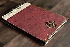 Papiernictvo - Svadobný album/ Kniha hostí/Vínová červená + zlatá - 10640056_