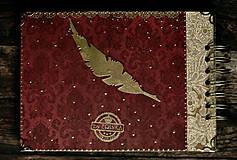Papiernictvo - Svadobný album/ Kniha hostí/Vínová červená + zlatá - 10640057_