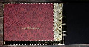 Papiernictvo - Svadobný album/ Kniha hostí/Vínová červená + zlatá - 10640061_