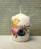 Svietidlá a sviečky - veľkonočná sviečka kuriatko a bahniatka - 10638765_
