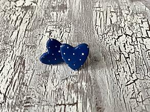 Náušnice - maľované bodkované srdiečka (MiNi modré) - 10641088_