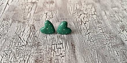 Náušnice - maľované bodkované srdiečka (smaragdovo zelená) - 10641117_