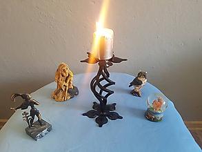 Svietidlá a sviečky - kovový svietnik - 10641787_