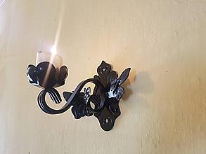 Svietidlá a sviečky - kovový svietnik na stenu motýľ - 10641829_