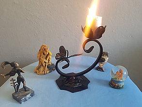 Svietidlá a sviečky - kovový svietnik C - 10641887_