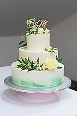 Dekorácie - Zápich na svadobnú tortu iniciálky (Prírodné drevo) - 10642692_