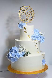 Dekorácie - Zápich na svadobnú tortu veniec - 10642667_