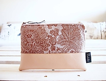 Taštičky - Kozmetická taška veľká - okrové ornamenty - 10642846_