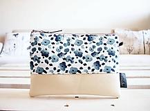 Taštičky - Kozmetická taška veľká - modré minimal kvety - 10642958_