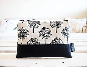 Taštičky - Kozmetická taška veľká - stromy v béžovej - 10642877_