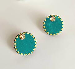 Náušnice - maľované minimalistické smaragdová - 10643567_