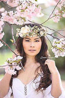 Ozdoby do vlasov - Dvojitý romatický kvetinový venček - 10642935_