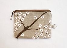 Peňaženky - Peňaženka/dokladovka-Kvitnúca jar (natur 100% ľan) - 10644019_