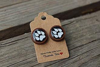 Náušnice - Naušky živicové-drevené labky - 10643295_