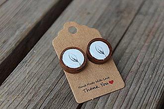 Náušnice - Naušky živicové-drevené list - 10643301_