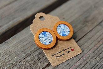 Náušnice - Naušky živicové-drevené modrotlač - 10643332_