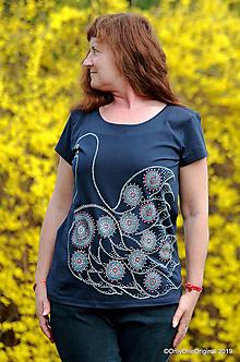 Tričká - Dámske tričko batikované, maľované HOLÚBOK - 10642559_