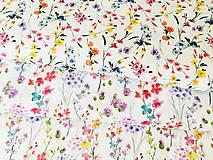 Textil - zakvitnutá lúka menšia, 100 % predzrážaná bavlna Španielsko, šírka 150 cm, cena za 0,5 m - 10642756_