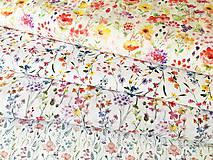 Textil - zakvitnutá lúka menšia, 100 % predzrážaná bavlna Španielsko, šírka 150 cm, cena za 0,5 m - 10642757_