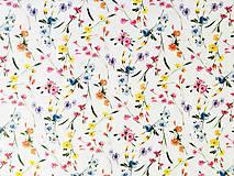 Textil - zakvitnutá lúka menšia, 100 % predzrážaná bavlna Španielsko, šírka 150 cm, cena za 0,5 m - 10642783_