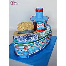 Detské doplnky - Veľká plienková torta LOĎ - 10642024_