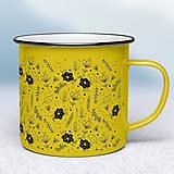 Nádoby - Žltý smaltovaný hrnček - 10641376_