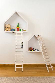 Nábytok - Domčeky a rebríky (Biela + rebríky) - 10644244_