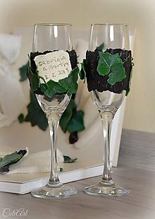 Nádoby - Svadobná réva - sada svadobných pohárov - 10643247_