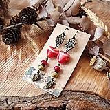 Náušnice - Smotanové sklenené náušnice s ornamentami, srdcia, lístky, červená, hnedá, bronz - 10641826_