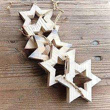 Dekorácie - Drevená Hviezda Večernica (12,5cm x 12,5cm - Meď/Bronz) - 10642143_