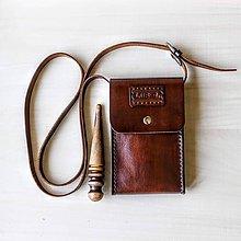 Kabelky - Kožená kapsa na mobil - 10642295_