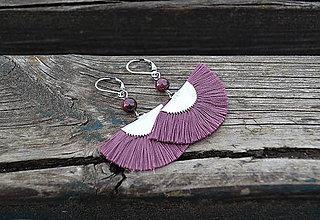 Náušnice - Granát s vejárom náušnice z ocele - 10642318_