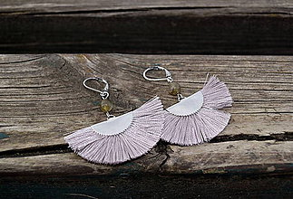 Náušnice - Labradorit s vejárom náušnice z ocele - 10642383_