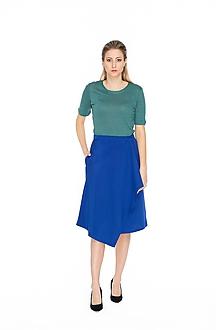 Sukne - Kobaltovo modrá midi zavinovacia sukňa - 10644449_