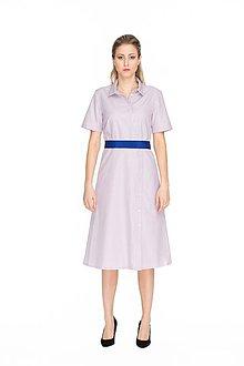 Šaty - Lila bavlnené midi košeľové šaty - 10644712_