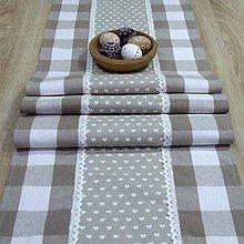 Úžitkový textil - Béžové káro so srdiečkami - stredový obrus 140x40 - 10642244_