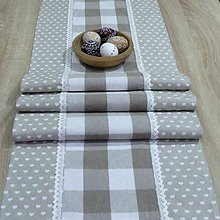 Úžitkový textil - Béžové káro so srdiečkami(2) - stredový obrus 140x40 - 10642636_