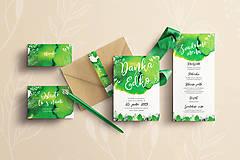 Papiernictvo - Svadobné oznámenie Listy (Svadobné oznámenie -Greenery Akvarel) - 10643826_
