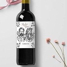 Papiernictvo - Svadobné oznámenie - kreslené s portrétmy (Etikety na fľaše) - 10643767_