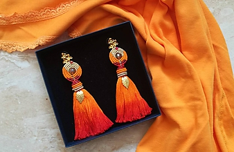Náušnice - Oranžové ombre strapcove nausnice - 10642096_