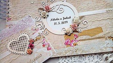 Papiernictvo - romantický svadobný album A4 + blahoželanie - 10641723_