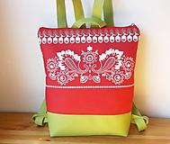 Batohy - kabelkový batoh/červené olivy - 10642889_