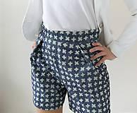 Nohavice - Kraťasy s vysokým pásom a vreckami - 10641617_